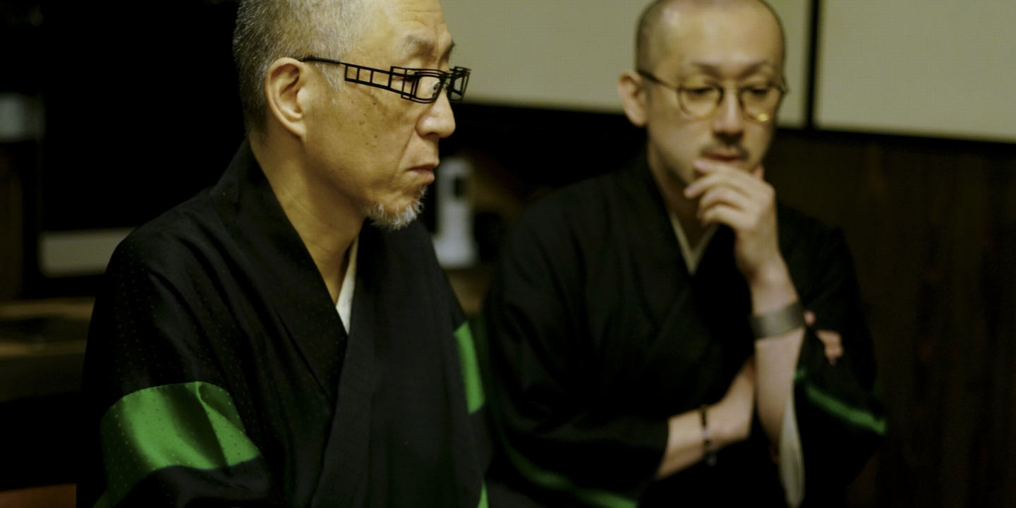 """""""Kyougen"""" has inherited the skills of the iconic master. The unique virtue of Japan, immutable, is expressed in the family crests (Kamon)."""